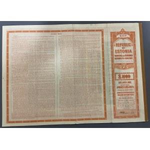 Estonia $1000 Bond, 7%, 1927 - Uncancelled