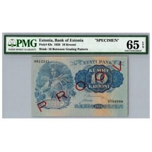 Estonia 10 krooni 1928 - SPECIMEN - PMG 65 EPQ