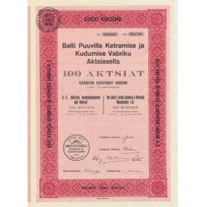 Estonia Balti Puuvilla 100 aktsiat 5000 krooni 1928