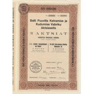 Estonia Balti Puuvilla 2 aktsiat 100 krooni 1928