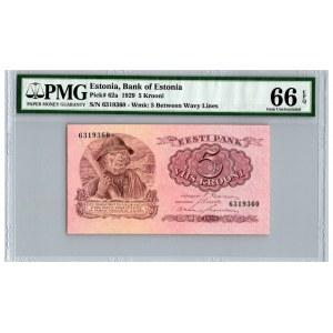 Estonia 5 krooni 1929 - PMG 66 EPQ