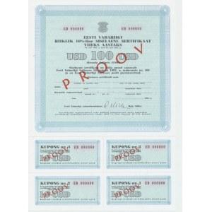 Estonian 10% domestic loan 100 USD 1992 SPECIMEN