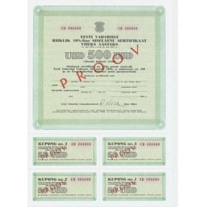 Estonian 10% domestic loan 500 USD 1992 SPECIMEN