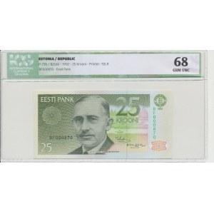 Estonia 25 krooni 1992. ICG 68 Gem UNC