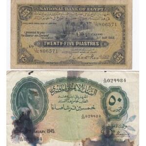 Egypt 25 piastres 1948 & 50 piastres 1945