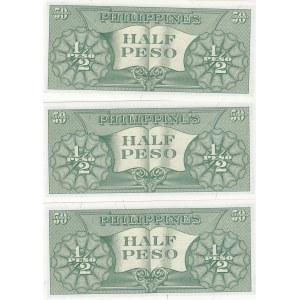 Philippines 1/2 peso 1949 (3 pcs)