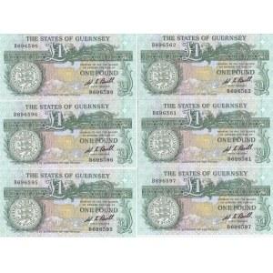 Guersney 1 pound 1980-89 (6 pcs)