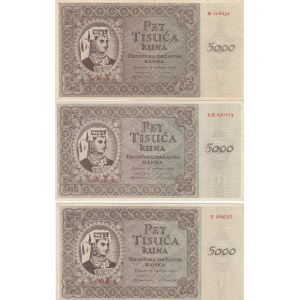 Croatia 5000 kuna 1943 (3 pcs)