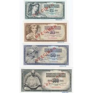 Yugoslavia 5-100 dinars 1968 specimens (4 pcs)