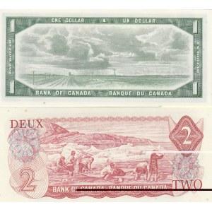 Canada 1 dollar 1954 & 2 dollars 1974