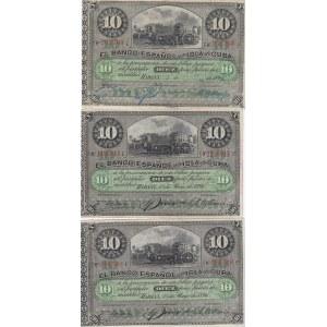 Cuba 10 pesos 1896 (3 pcs)