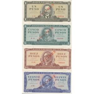 Cuba 1-20 pesos 1964 specimens (4 pcs)