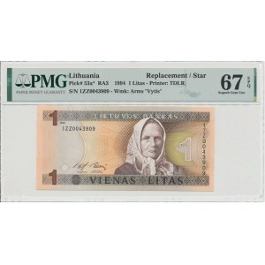 Lithuania 1 litas 1994 - Replacement note PMG 67 EPQ