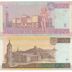 Lithuania 20 litas 2007 and 50 litas 2003 replacement notes (2)