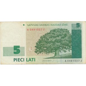 Latvia 5 lats 2001 - replacement note