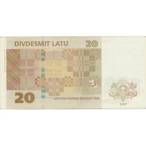 Latvia 20 lats 2007 - replacement note