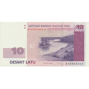 Latvia 10 lats 2008 - replacement note