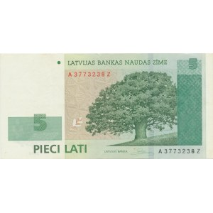 Latvia 5 lats 2009 - replacement note