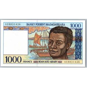 Madagascar 1000 francs 1994-2004