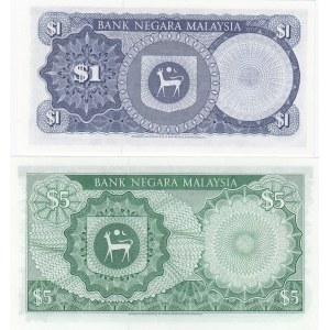 Malaysia 1 & 5 ringgit 1976