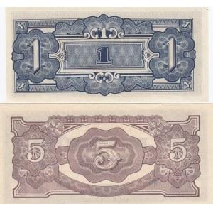 Malaya - Japan 1 & 5 dollarit 1942