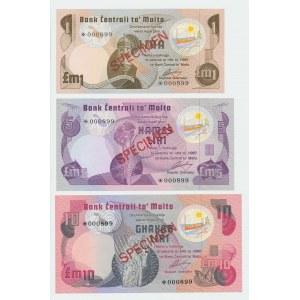 Malta 1-100 pounds 1979 - Specimens (3)