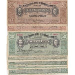 Mecico 20 & 50 pesos 1914 (7 pcs)