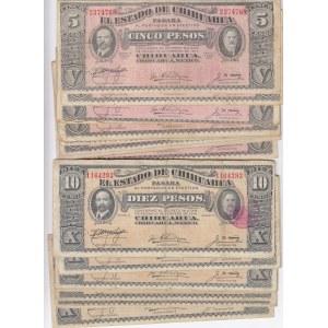 Mexico 5 & 10 pesos 1914 Chihuahua (25 pcs)