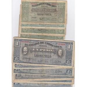 Mexico 50 cen & 1 peso 1914-15 Chihuahua (33 pcs)