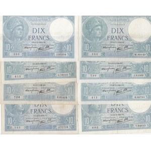 France 10 francs 1939-41 (8 pcs)