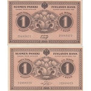 Finland 1 markka 1916 (2 pcs)