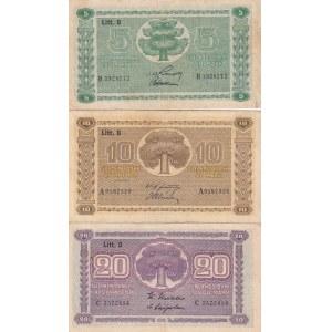 Finland 5,10,20 markka 1939 litt D
