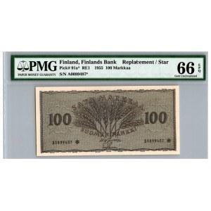 Finland 100 markkaa 1955 - PMG 66 EPQ