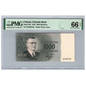 Finland 1000 markkaa 1955 - PMG 66 EPQ
