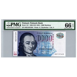 Finland 1000 markkaa 1986 (ND 1991) - PMG 66 EPQ