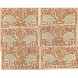 Denmark 10 kroner 1942-43 (6 pcs)