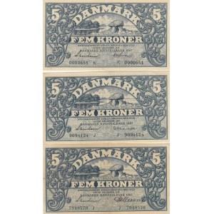 Denmark 5 kroner 1942-43 (3 pcs)