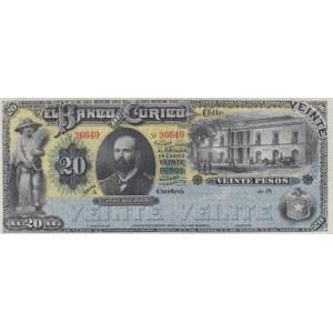 Chile 20 pesos 1882 Banco de Curico