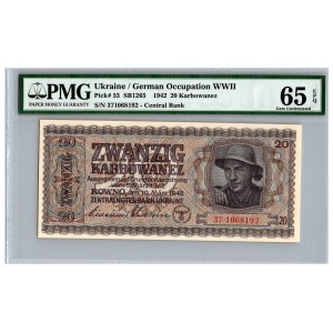 Ukraine / German occupation 20 karbowanez 1942 - PMG 65 EPQ
