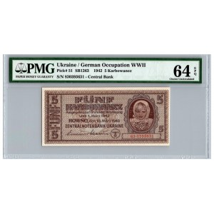 Ukraine / German occupation 5 karbowanez 1942 - PMG 64 EPQ