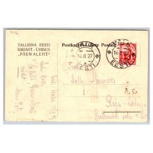 Postcard Estonia Jaak Tiibus on church day