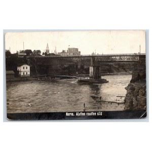 Postcard Estonia Narva Temporary railway bridge