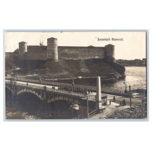 Postcard Estonia Narva Border crossing and Invagorods castle