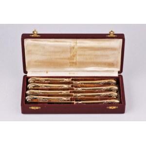 Komplet złoconych noży, Francja pocz. XIX w.