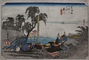 Andō [Utagawa] Hiroshige, Fujikawa. Scena na przedmieściach
