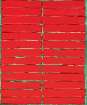 Jacek Mirczak, Czerwona kompozycja na zielonym tle, 2017