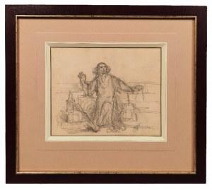 """Jan  MATEJKO (1838-1893), Mikołaj Kopernik - Szkic do obrazu:  """"Astronom Kopernik, czyli rozmowa z Bogiem"""", 1873"""