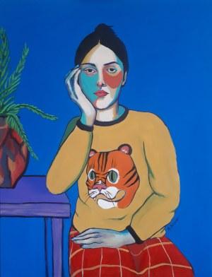 Agata Burnat, Portrait of woman with a fern, 2021