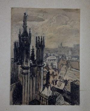 """Zofia Stankiewicz (1862-1955), """"Warszawa – kościół Św. Jana"""", tusz, akwarela, l. 30-te."""