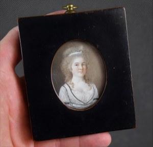 """Miniatura """"Portret młodej kobiety"""", ok. 1790 r. gwasz na kości, Polska?"""